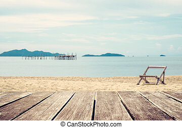 Wooden terrace and the beach view