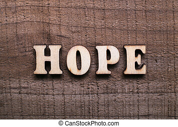 Wooden Text Hope