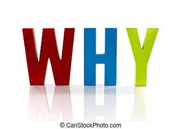 the word why in wooden letters