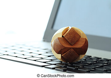 wooden texture globe with social media diagram on laptop computer as internet concept