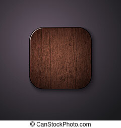 Wooden texture icon stylized like mobile app. Vector illustratio