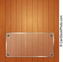 Wooden texture with glass framework. Vector illustration