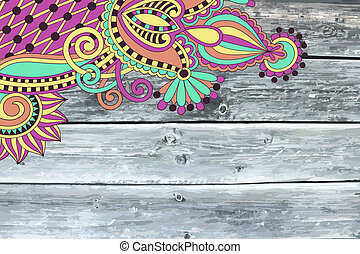 wooden texture with ornamental floral pattern