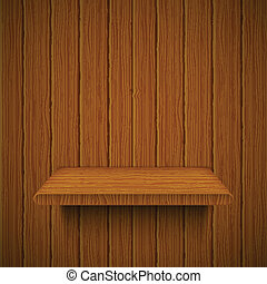 Wooden texture with shelf. Vector illustration