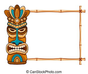 Wooden Tiki mask and bamboo frame