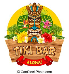 Wooden Tiki mask and signboard of bar - Tiki tribal wooden...