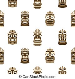 Wooden tiki mask seamless pattern vector.