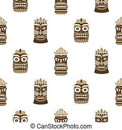 tiki mask cartoon vector set hawaiian bar decorations isolated on