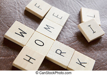 Wooden Tiles In Crossword Shape Spelling Words Home Work And...