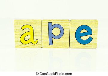 wooden tiles - spelling ape