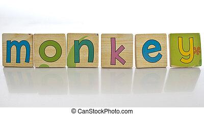 wooden tiles - spelling MONKEY