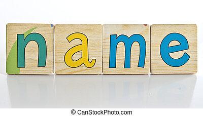 wooden tiles - spelling N A M E
