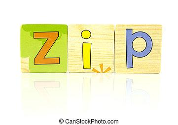wooden tiles - spelling zip