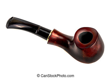 wooden tobacco pipe isolated on white background