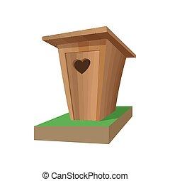 Wooden toilet cartoon icon