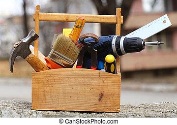tool box  - wooden tool box at work close up