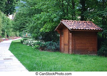 Wooden tool shed - Wooden garden tool shed in a beautiful...