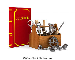 Wooden toolbox with tools and red service book. Isolated 3D illustration