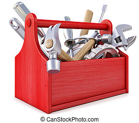 wooden toolbox with tools. isolated on white.