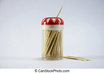 Wooden toothpick in plastic box