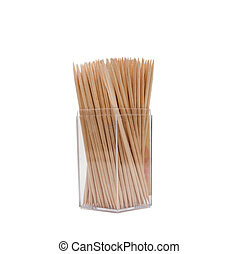 Wooden toothpicks in a box