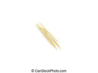 Wooden toothpicks on a white background