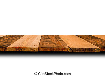 Wooden top of the table from dark and light planks for ...