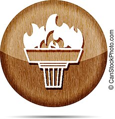 wooden torch icon with flame on a white background