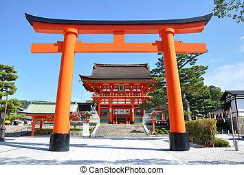 Wooden Torii Gates at Fushimi Inari Shrine, Kyoto, Japan