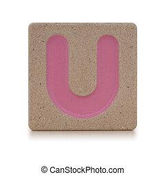 Wooden toy alphabet U