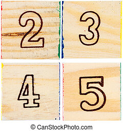 Wooden toy blocks with numbers