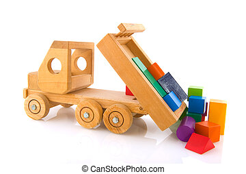 wooden toy car with colorful blocks