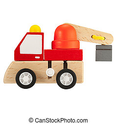 Wooden toy crane truck isolated on white