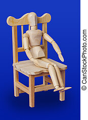 Wooden toy figure on chair - blue