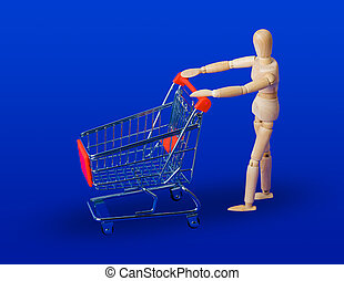 Wooden toy figure with shopping cart on blue