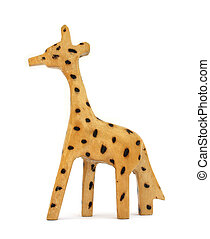 Wooden toy giraffe on white background