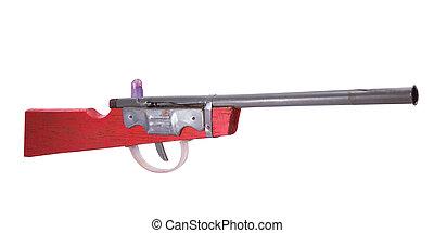 Wooden toy gun on white background