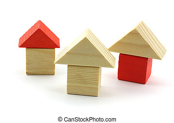 wooden toy home isolated in studio