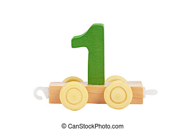 Wooden toy number 1 - Wooden toy on a wheels number 1...