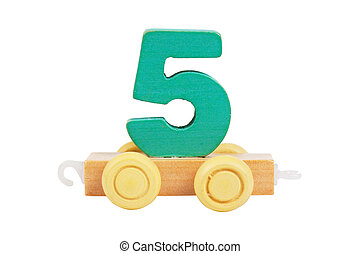 Wooden toy number 5 - Wooden toy on a wheels number 5...