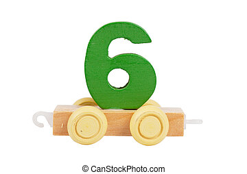 Wooden toy number 6 - Wooden toy on a wheels number 6...