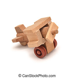 toy plane - wooden toy plane isolated on white background