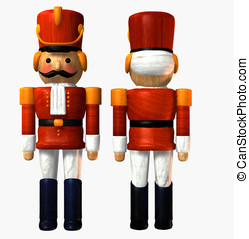 Wooden toy soldier in red uniform standing at attention,...