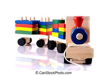Wooden toy, steam locomotive