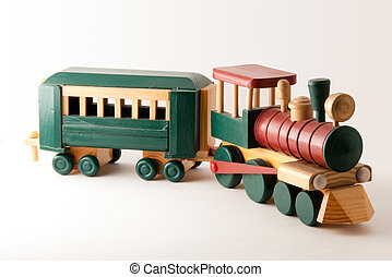 Wooden Toy Train Engine and Car