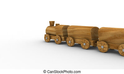 Wooden toy train isolated on a white background. Part of a...