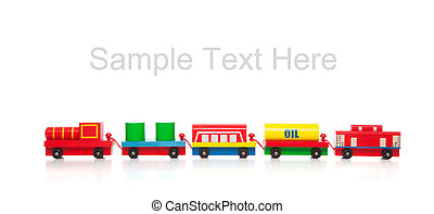 Wooden toy train on white with copy space