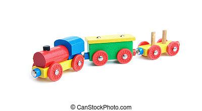 Wooden toy train on white
