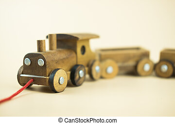 Wooden toy train. Preschool and child play concept
