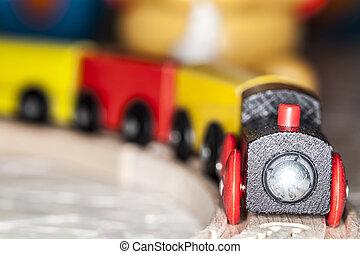 wooden toy train set